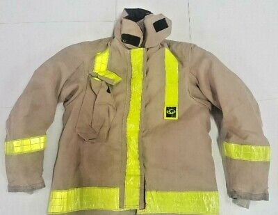 42x34 Globe Chief Firefighter Bunker Turnout Jacket Light Brown Yellow Tape J683