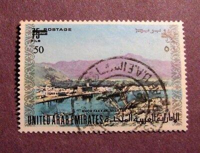 Sharjah United Arab Emirates - United Arab Emirates Stamp Scott# 68 Khor Fakkan, Sharjah Surcharged 1976 C44