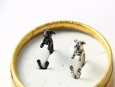 Animal Gold Ring (Greyhound Dog Animal Ring Adjustable Silver Gold Finger Wrap Ring Size 5 to 8 )