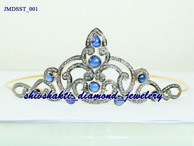 25.95c ROSE CUT DIAMOND SAPPHIRE ANTIQUE WEDDING SILVER HAIR JEWELRY TIARA-CROWN