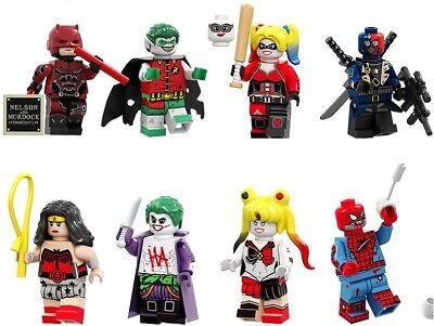 Daredevil Harley Quinn Joker Zombies Robin Building Blocks Wonder Woman Spider