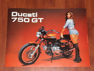 Vintage Ducati Poster, 750 GT Bevel Twin, the one with that girl...