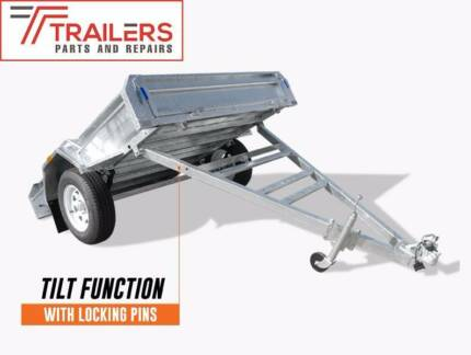 New 7x5 Fully Welded Galvanised Box Tipping Trailer Long Drawbar Currumbin Waters Gold Coast South Preview