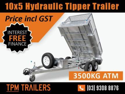 only$144 P/W 3.5T GVM 10x5 HYDRAULIC TIPPER GALVANISED TRAILER Melbourne CBD Melbourne City Preview