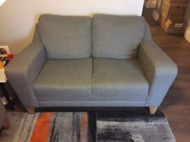 2 Seater Sofa - Superb Condition, Grey/Silver
