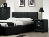 New Black Faux Leather Bed Frame 5ft Kingsize | Brand New King Size Bedstead