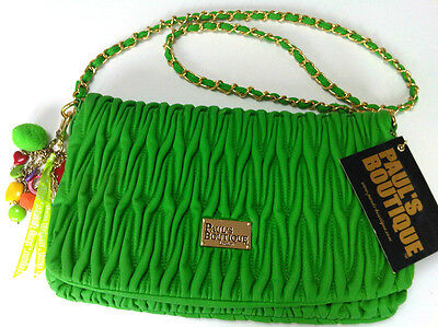 Pauls Boutique Phoebe Green Ruched Quilted Chain Charm Purse Clutch Bag £60