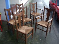 $35 EACH - Set of 6 Vintage Wood Dining Chairs with Wicker Seats