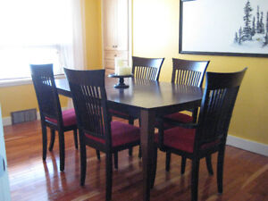 Solid wood espresso dining room set with hutch