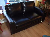 Modern Faux Leather Black Loveseat with Chrome Legs made in USA