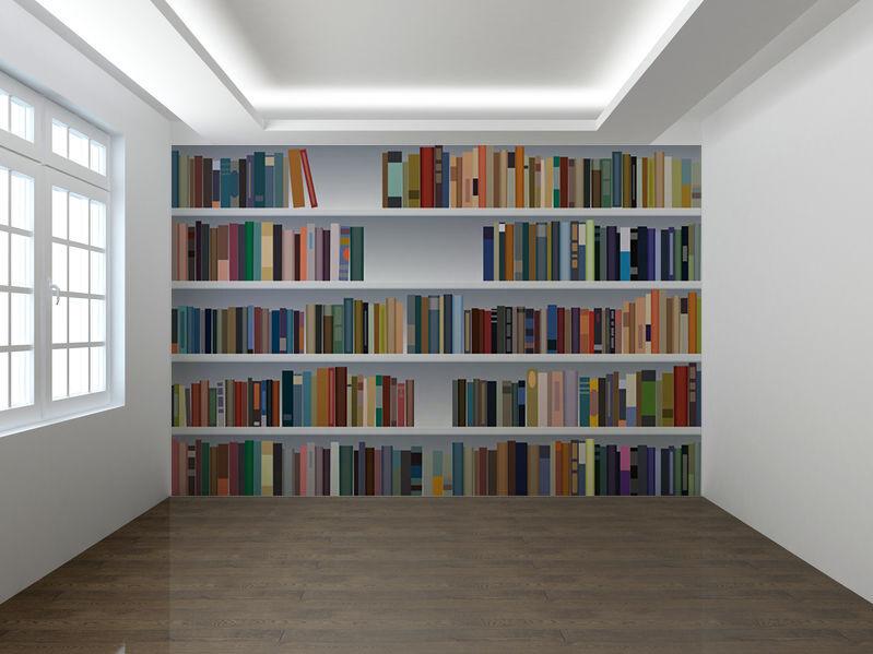Modern Bookshelf 3d Fake Bookcase Tv Background Wallpaper Mural Bedroom Decor Ebay