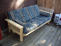 Wood Framed Cotton Futon Couch with Southwest Style Cover