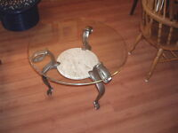 EACH - Round Glass End Table with Metal Legs & Marble Shelf