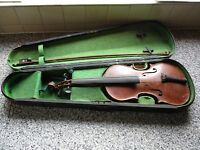 Old Maidstone Violin and Wooden case for display or restoration