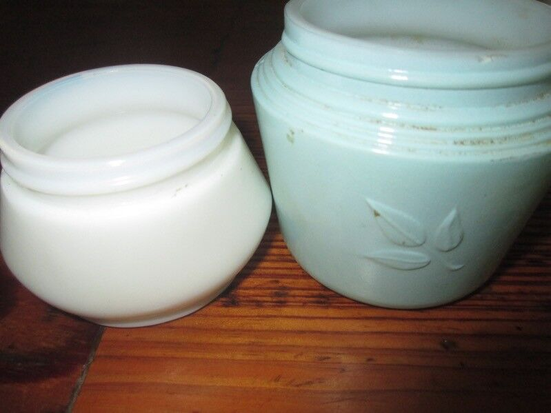 Vintage Set of 2 milk glass cream jars 1 white 1 Aqua Blue embossed Unique