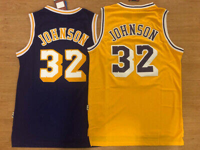 BRAND NEW #32 Earvin Magic Johnson Los Angeles Lakers Yellow/Purple Sewn (Violet Yellow)