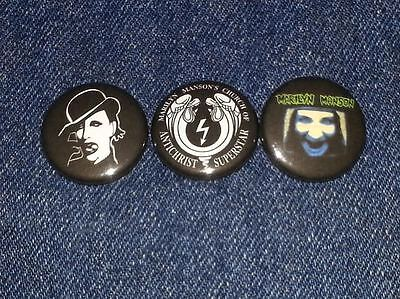 "Marilyn manson set of 3 1"" inch button pin back set 2"