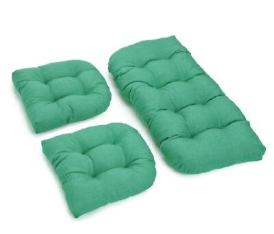 Outdoor All Weather 3pc Wicker Settee Chair CUSHION SET Solid Green ()