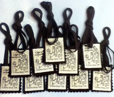 Traditional Catholic Scapular 100% Brown Wool *10 Scapulars for $13.00*
