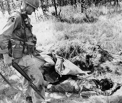 "Lt. Col. Harold G. Moore Jr inspects enemy dead 8""x 10"" Vietnam War Photo #21"