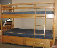 SOLID BIRCHWOOD BUNK BED SINGLE OVER SINGLE