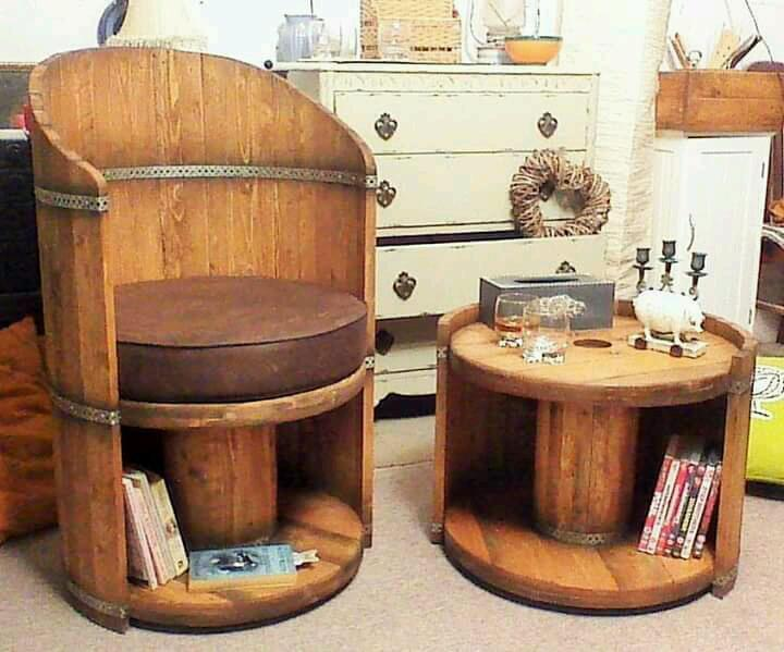 Reclaimed Wood Cable Reel Style Chair And Storage In St