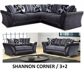 **FREE CUSHION + CHROME FEET-LIMITED TIME ONLY** SHANNON CORNER SOFA OR 3+2 + CUDDLE CHAIR AVAILABLE
