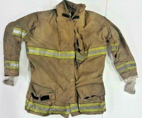 52x35 Globe Firefighter Brown Turnout Jacket Coat with Yellow Tape GXtreme J770