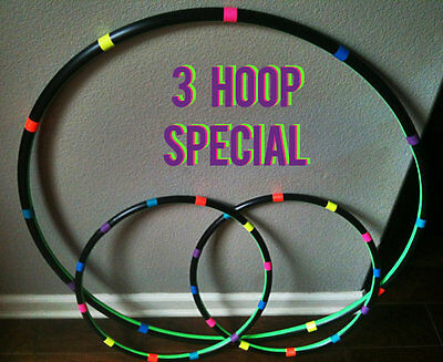 Tutti Frutti Lot Of 3 Hula Hoops - 1 Collapsible Adult Hoop & 2 Mini Arm Hoops