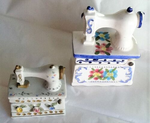 Lot of 2 Ceramic SEWING MACHINES Pin Boxes