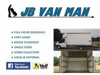 JB REMOVALS LARGE LUTON VAN MAN, TWO MAN TEAM, OUTSTANDING 5* REVIEWS, PROFESSIONAL , FULLY INSURED