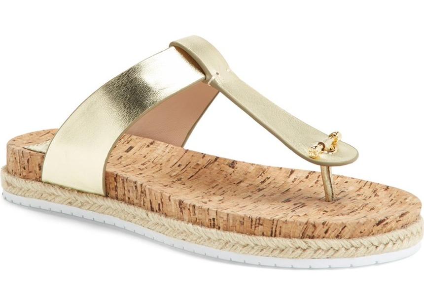 Tory Burch Women Gold Leather Cork Thong Sandal Flat Size 55 Salon Shoes
