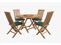 Solid Teak Round Folding Table & 4 Folding Chair Set - Exlusive Clearance Offer