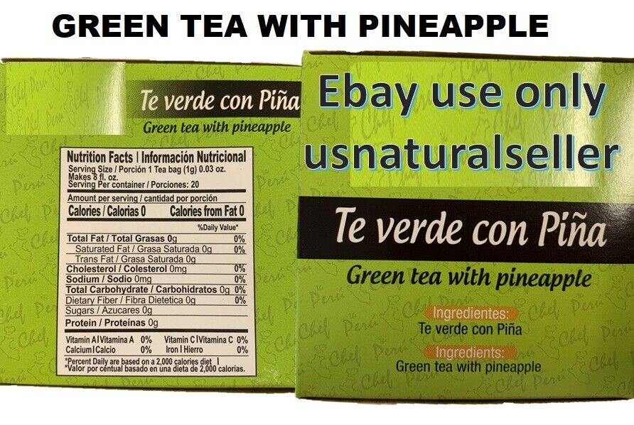 Hindu Green Tea with Pineapple Flavor 20 Pack of 3-total 60 bags detox + weight 7