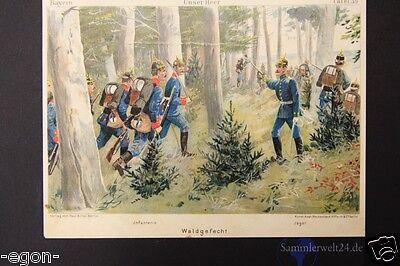 unser Heer Bayern Waldgefecht Jäger Infantrie Chromolithographie um 1890