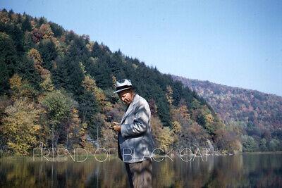 1950s Mens Suits & Sport Coats   50s Suits & Blazers Kodak Slide 1950s Red Border Kodachrome Man Suit Hat Front of Lake Mountain Fall $16.99 AT vintagedancer.com