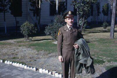 1950s Mens Suits & Sport Coats   50s Suits & Blazers 35mm Slide 1950s Red Border Kodachrome Handsome Man Brown Military Suit on Base $29.99 AT vintagedancer.com