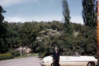 1950s Mens Suits & Sport Coats   50s Suits & Blazers Kodak 35mm Slide 1950s Red Border Kodachrome Man in Suit Convertible Car $18.99 AT vintagedancer.com