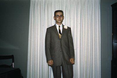 1950s Mens Suits & Sport Coats   50s Suits & Blazers 35mm Slide 1950s Red Border Kodachrome Young Man Boy in Suit Buzz Cut $19.99 AT vintagedancer.com