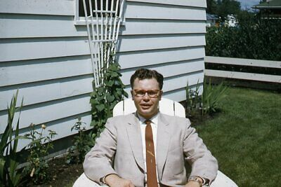 1950s Mens Suits & Sport Coats   50s Suits & Blazers Kodak Slide 1950s Red Border Kodachrome Man in Suit Sitting in Lawn Chair $24.99 AT vintagedancer.com