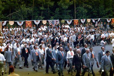 1950s Mens Suits & Sport Coats   50s Suits & Blazers Kodak Slide 1950s Red Border Kodachrome Men in Suits Marching Jaffa Shriners $19.99 AT vintagedancer.com