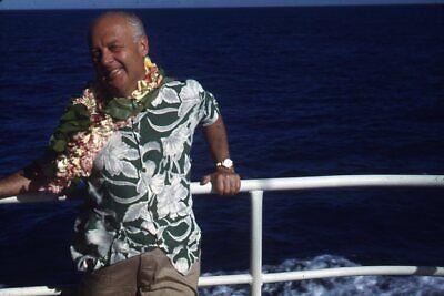 1940s Men's Shirts, Sweaters, Vests Kodak 35mm Slide 1940s Red Border Kodachrome Man in Hawaiin Shirt on Cruise Ship $21.99 AT vintagedancer.com