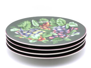 Set/4 different Sakura Fruit Pattern Stoneware Dessert Plates