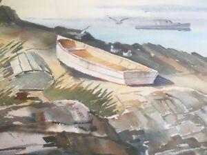 Original Alan Franks Watercolour - Fishing Boat, Coast of Sea