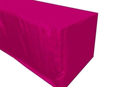 4' ft. Fitted Polyester Table Cover Trade show Booth banquet Tablecloth Hot Pink - Fitted Table Covers