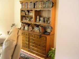 Two Solid Pine Bookcases with drawers in bottom.