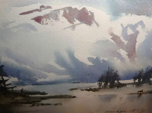 "Winter Mountain,George Alig ""November Chill"" Original Watercolor Stratford Kitchener Area image 5"