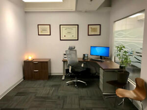Central downtown quiet, secure furn office space; for 1-3 people