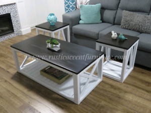 White coffee table and end tables set (new)