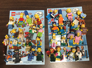 Simpsons lego minifigures complete collection, with stands